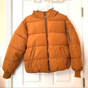 Forever 21 Orange Puffer Jacket